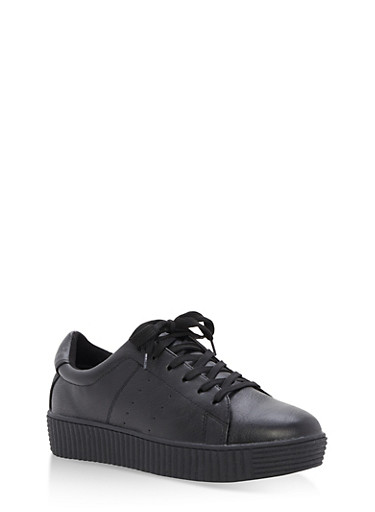 Lace Up Creeper Sneakers,BLACK,large