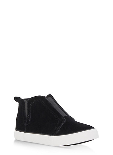 Velvet Slip On High Top Sneakers,BLACK VELVET,large