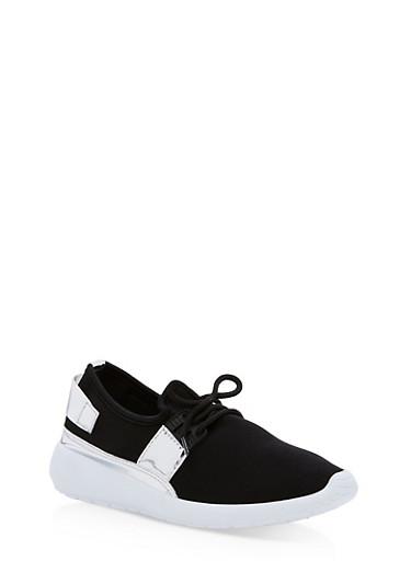 Mirrored Metallic Strap Sneakers,BLACK/SILVER PATENT,large