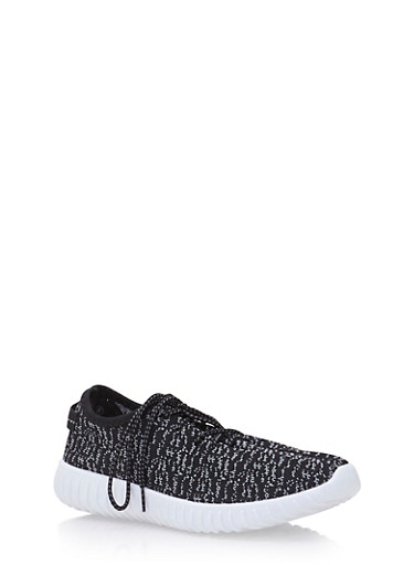 Knit Sneakers with Ribbed Outsoles,BLACK/BLACK,large