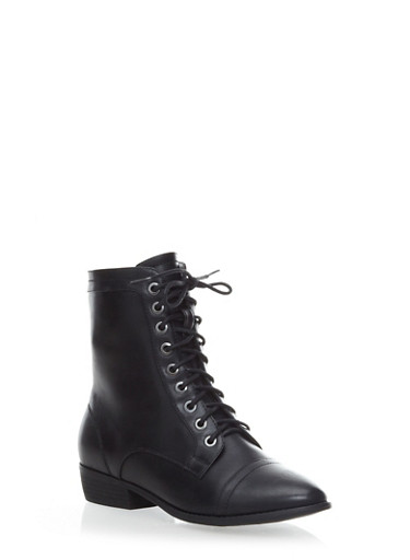 Lace Up Combat Boots with Side Zipper,BLACK,large