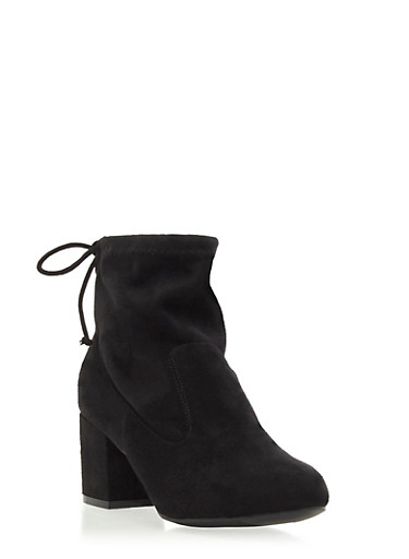 Faux Suede Ankle Boots with Cinch Detailing,BLACK F/S,large