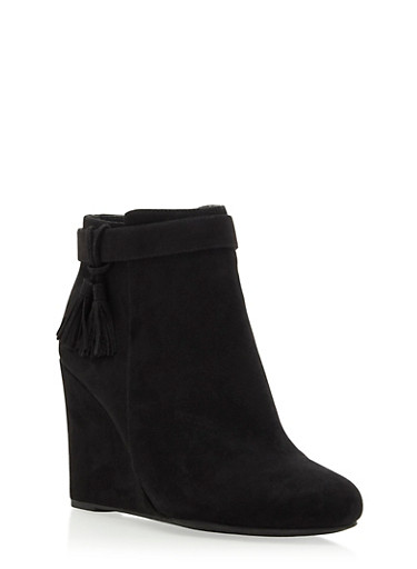 Faux Suede Wedge Booties with Tassel Accents,BLACK,large