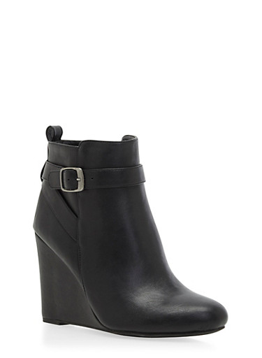 Faux Leather Wedge Ankle Boots with Wrap-Around Strap,BLACK PU,large