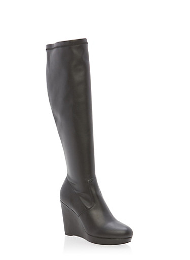 Wedge Boots with Side Zipper,BLACK SPU,large