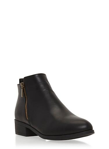 Side Zip Booties,BLACK BNH,large