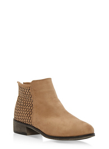 Faux Suede Perforated Booties,TAN F/S,large
