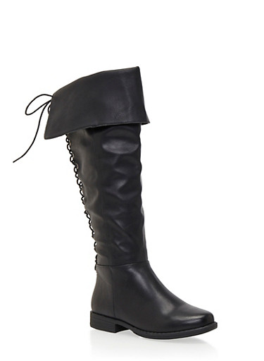 Faux Leather Knee-High Boots with Back Lace Accent,BLACK,large