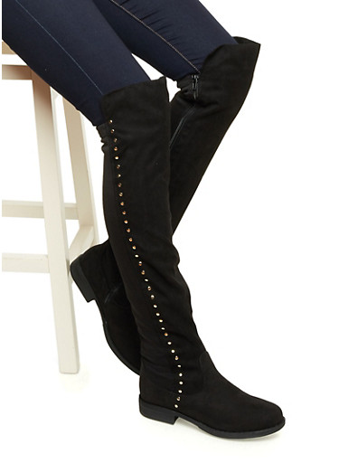 Faux Suede Over-The-Knee Boots with Goldtone Studs,BLACK F/S,large