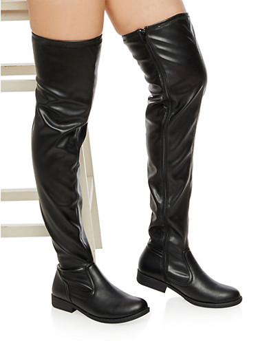 Flat Over the Knee Boots,BLACK SPU,large