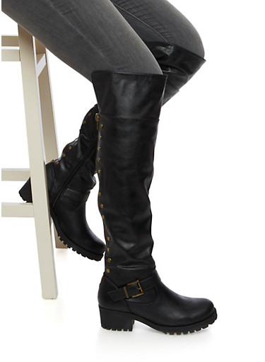 Over The Knee Boots with Flat Stud Accents,BLACK,large