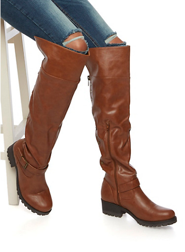 Over The Knee Boots with Flat Stud Accents,CHESTNUT,large