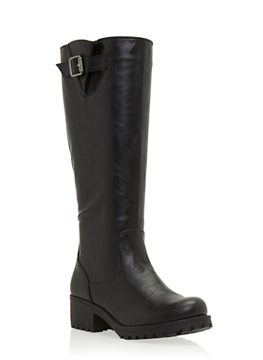 Faux Leather Knee High Boots with Side Buckle Cinch,BLACK,large