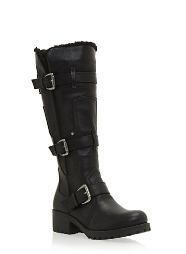 Knee High Boots with Faux Fur Lining and Buckles,BLACK,large