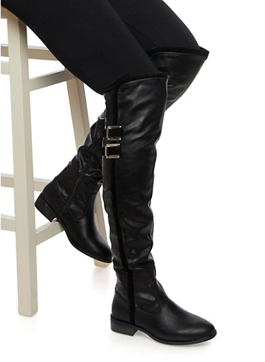 Over the Knee Boots with Buckles and Velvet Trim,BLACK,large