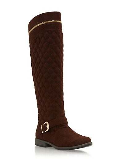 Quilted Faux Suede Knee High Boots with Zip Accents,BROWN F/S,large