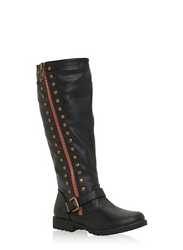 Studded Moto Boots in Faux Leather,BLACK,large