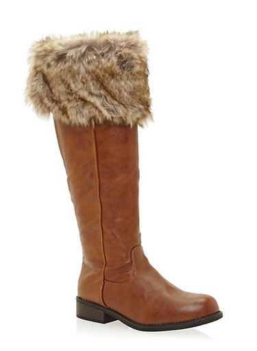 Faux Leather Knee High Boots with Faux Fur Cuff,CHESTNUT,large