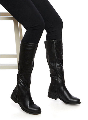 Moto Knee High Boots with Asymmetrical Counter Zip,BLACK,large