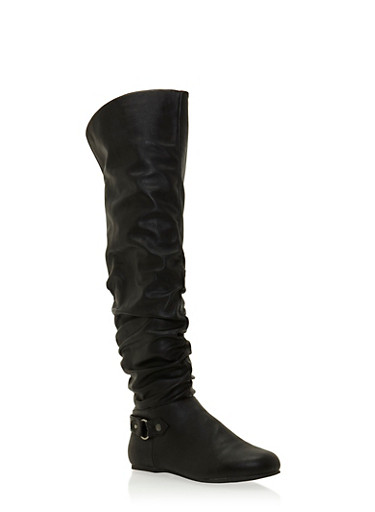 Slouchy Knee High Boots with Ring Buckle,BLACK PU,large