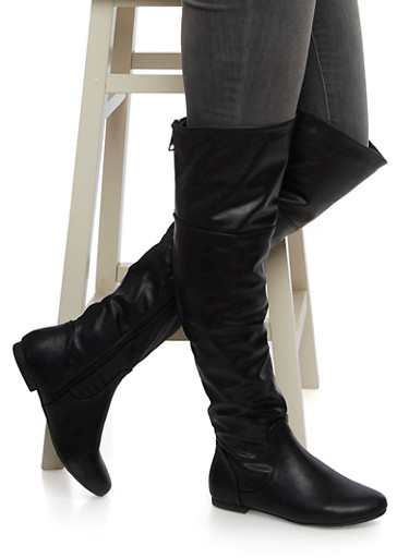 Faux Leather Over The Knee Boots with Zip Accents,BLACK,large