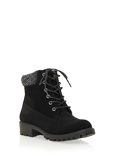 Work Boots with Sweater Collar,BLACK,large