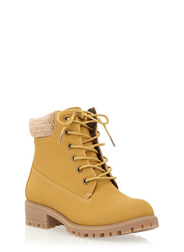 Work Boots with Sweater Collar,WHEAT,large