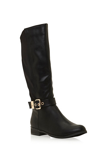 Buckle Strap Leather Boots,BLACK,large