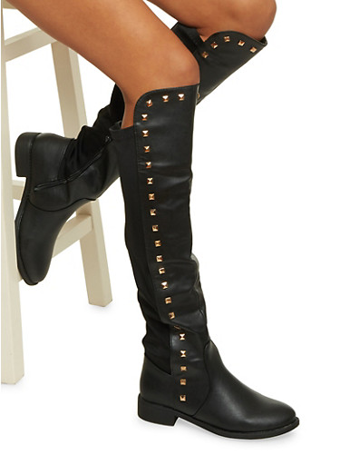 Knee High Boots with Studs,BLACK,large
