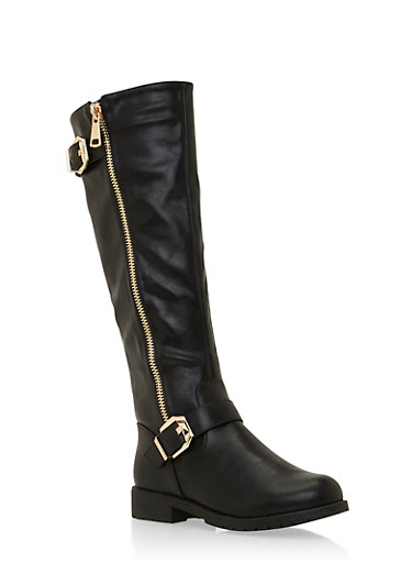 Faux Leather Knee High Boots with Side Buckles,BLACK,large