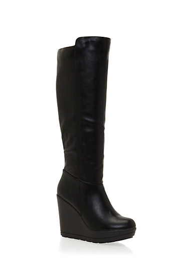 Wedged Knee High Boots in Faux Leather,BLACK,large