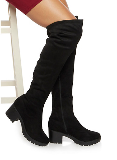 Platform Over The Knee Boots in Faux Suede,BLACK,large