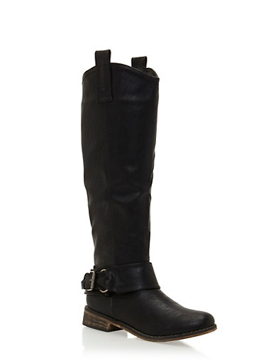 Tall Biker Boots with Buckle Strap,BLACK,large