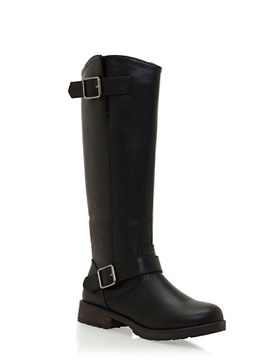 Faux Leather Knee High Boots with Side Buckle Cinches,BLACK,large
