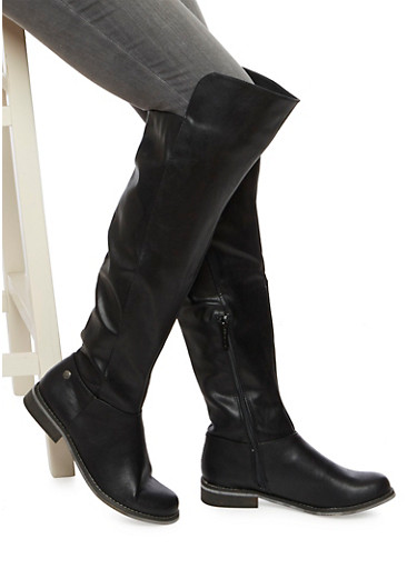 Over The Knee Boots in Faux Leather,BLACK,large