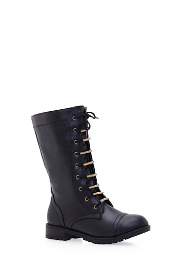 Mid Calf Lace Up Boot,BLACK,large