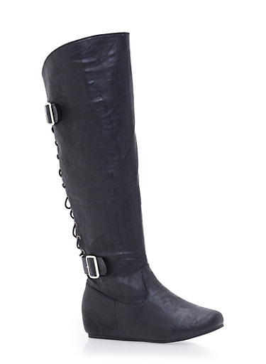 Knee High Boots with Lace Up Back and Side Buckles,BLACK,large