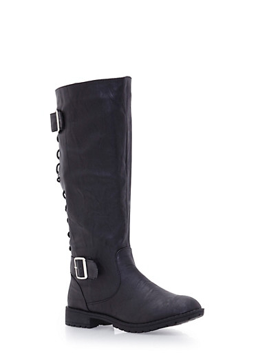 Mid Calf Boots with Lace Up Back and Buckle Cinches,BLACK,large