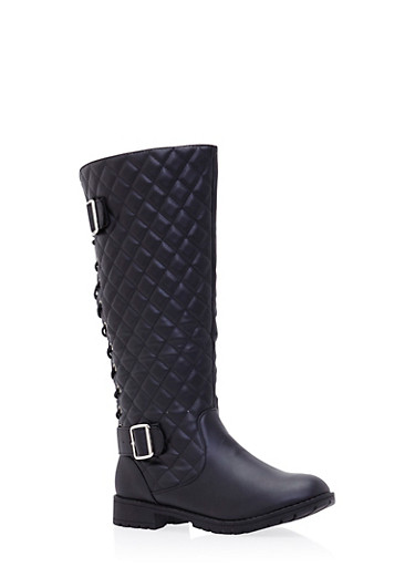 Quilted Mid Calf Boots with Lace Up Back,BLACK,large