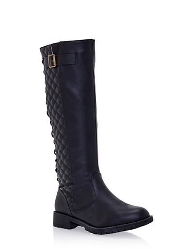Quilted Lace Up Knee High Boots with Buckle,BLACK,large