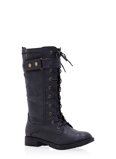 Lace Up Boots with Buckle Strap,BLACK,large