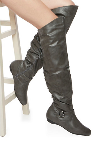 Faux Leather Over The Knee Boots with Lace Up Back - Rainbow