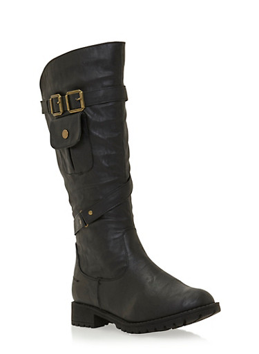 Double Buckle Knee High Boots with Pocket Detail,BLACK,large