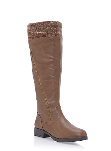 Knee High Boots with Knit Cuffs and Zip Accents,TAUPE,large