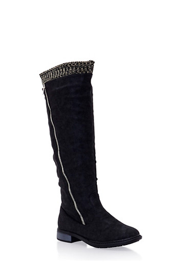 Over the Knee Boots with Knit Trim,BLACK,large
