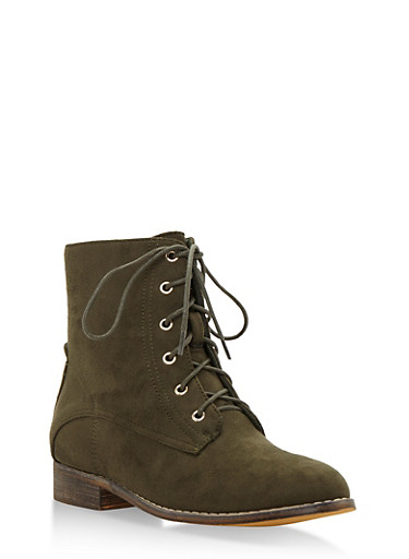 Faux Suede Ankle Boots,OLIVE,large
