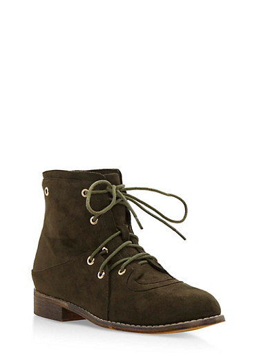 Double Lace Up Brushed Faux Suede Ankle Boots,OLIVE,large