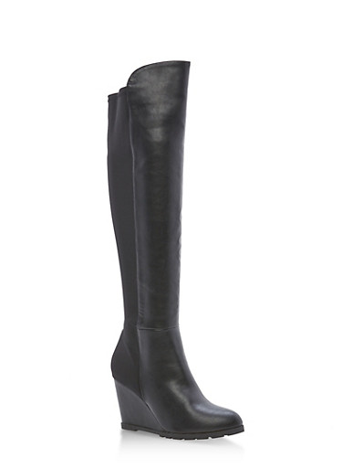 Stretch Back Wedge Tall Boots,BLACK PU,large