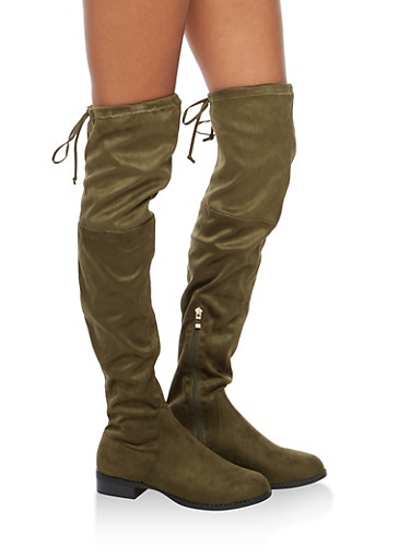 Tie Back Over the Knee Flat Boots,OLIVE F/S,large