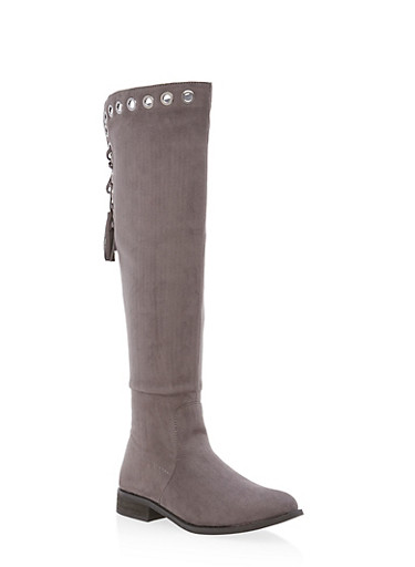 Grommet Lace Up Tassel Boots,GRAY F/S,large